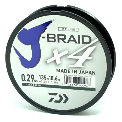 Шнур Daiwa J-Braid X4 0.07мм 135м Dark Green